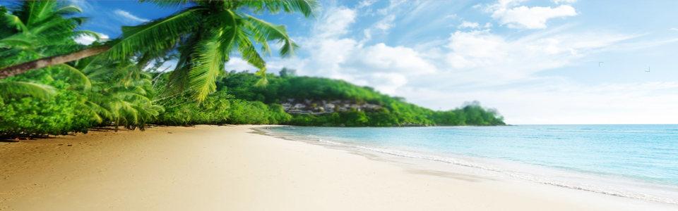 蓝天白云海滩背景