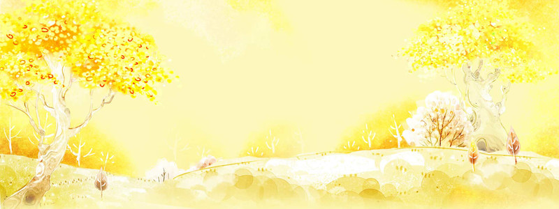 手绘卡通深秋背景大图高清背景图片素材下载