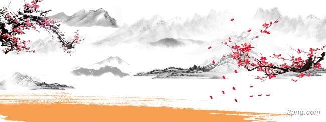 山水画背景背景高清大图-山水画背景Banner海报