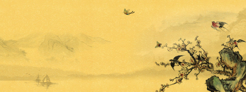 复古风黄色山水水墨画背景