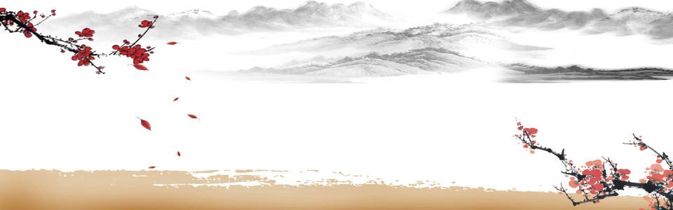中式山水花鸟素雅海报背景