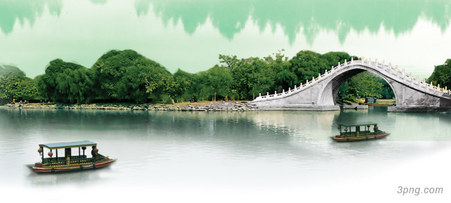 桥江南风景清新背景banner背景高清大图-江南背景Banner海报