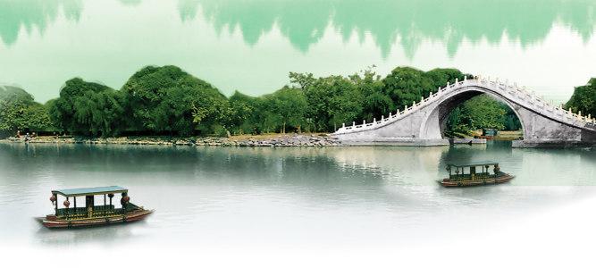 桥江南风景清新背景banner高清背景图片素材下载