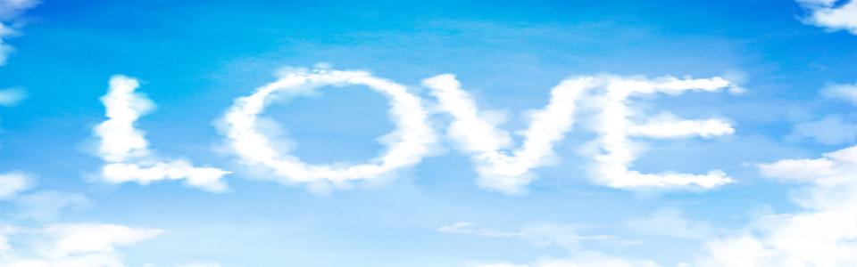 蓝色天空爱心白云淘宝海报背景